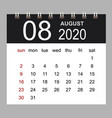 business calendar 2020 august notebook vector image
