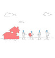 business people group build house team investment vector image