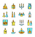 candle icons set in colored line style vector image vector image