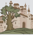 cartoon background with castle with many towers vector image