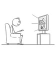 cartoon man sitting in armchair and watching vector image vector image