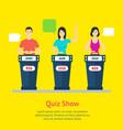 cartoon people quiz game show concept vector image vector image