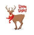 christmas card cartoon rudolph red nose reindeer vector image vector image