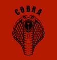 cobra snake head in engraving style design vector image vector image