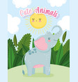 cute elephant animal sun sky grass nature wild vector image