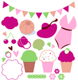 Cute retro summer elements set isolated on white vector image vector image