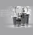 different types of cosmetics for men with bubbles vector image vector image