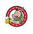 donkey beer drinker circle retro vector image vector image