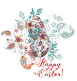 easter greeting card with egg decorated swirls vector image