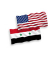 flags syria and america on a white background vector image vector image