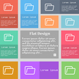 Folder icon sign Set of multicolored buttons with vector image