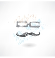 glasses and mustache grunge icon vector image vector image