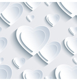 Grey Valentines Day seamless pattern 3d heart vector image vector image
