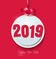 happy new year 2019 cut paper on pink background vector image