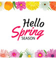 hello spring season greeting card with colorful vector image