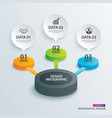 infographics circle paper with 3 data template vector image