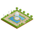 isometric city park with a lake and a gazebo in vector image vector image