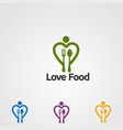love food logo icon element and template for vector image