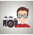 man camera tickets travel vector image vector image