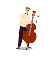 man musician in costume and bow-tie playing cello vector image vector image