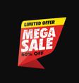 mega sale banner limited offer vector image vector image