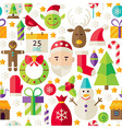 Merry Christmas Flat Design White Seamless Pattern vector image