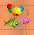 mid autumn lantern festival background with carp vector image vector image