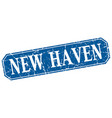 new haven blue square grunge retro style sign vector image vector image