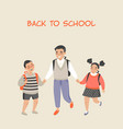 older brother and two kids going to school vector image