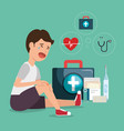 patient accident with medical service icons vector image vector image
