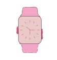 pink classic analog watch wearable technology vector image vector image