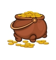 Pot with gold coins vector image vector image