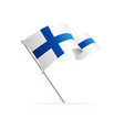 realistic 3d detailed finland flag on flagpole vector image vector image
