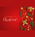 red christmas gifts and holiday elements card vector image vector image