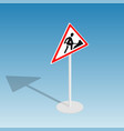 road sign roadworks isometric vector image vector image
