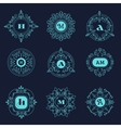 Set luxury monogram template flourishes vector image vector image