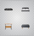 set of design realistic symbols with desk double vector image