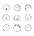 set of monochrome icons with speedometers vector image vector image