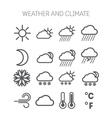 Set of simple weather and climate icons vector image