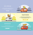 set of street food truck horizontal banners vector image