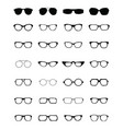 Silhouettes of different eyeglasses