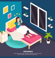 sleeping disorder isometric background vector image vector image