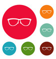 stylish eyeglasses icons circle set vector image vector image
