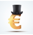 Symbol of the european euro in cylinder hat vector image vector image
