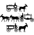 three different horse drawn hearse carriage vector image