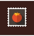Tomato flat stamp with long shadow vector image vector image