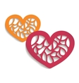 Two paper hearts for your design vector image vector image