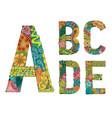 unusual colorful alphabet doodle style letters