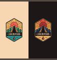 vintage badge emblem camping outdoor logo vector image