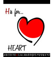 vocabulary worksheet card with cartoon heart vector image vector image